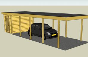 Carports langwerpig met platdak - Carport enkel met berging ...